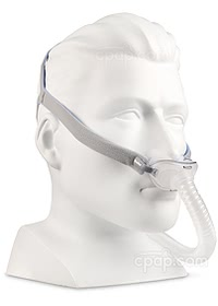 AirFit™ P10 Nasal Pillow CPAP Mask with Headgear - Angled View (Mannequin Not Included)