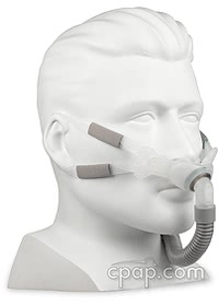 Swift FX Bella Ear Loop Gray - Shown with mask and mannequin - not included
