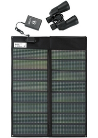 Solar Panel for Transcend CPAP Battery - shown with battery and binoculars