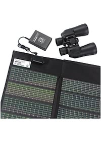 Solar Panel for Transcend CPAP Battery - shown with battery and binoculars -close up