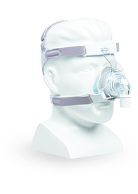 TrueBlue CPAP Mask Front  Angle - Shown on Mannequin