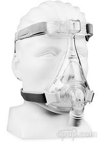 Amara Silicone Full Face Mask - Angled Front -on-Mannequin (Not Included)
