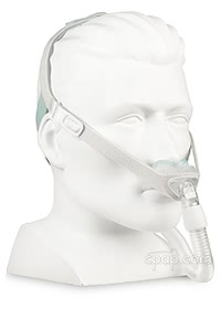 Nuance Nasal Pillow Mask - Angle Front - Shown On Mannequin (Not Included)