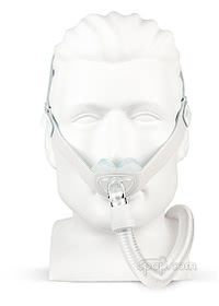 Nunance Gel Nasal Pillow CPAP Mask with Headgear - Front - Shown on Mannequin (Not Included)