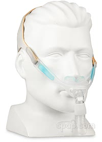 Nunance Pro Gel Nasal Pillow CPAP Mask with Headgear - Angle Front - Shown on Mannequin (Not Included)