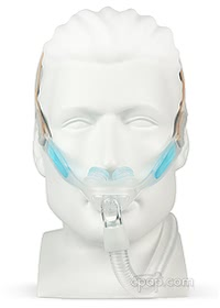 Nunance Pro Gel Nasal Pillow CPAP Mask with Headgear - Front - Shown on Mannequin (Not Included)