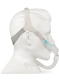Nunance Pro Gel Nasal Pillow CPAP Mask with Headgear -Side - Shown on Mannequin (Not Included)