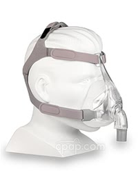 Simplus Full Face CPAP Mask with Headgear - Angled View (Mannequin Not Included)