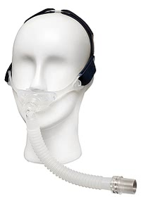 Stealth Nasal Pillow CPAP Mask -  Left Front Angle on Mannequin