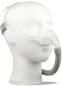Swift FX Nano For Her Nasal CPAP Mask with Headgear - Angled Front - On Mannequin (Not Included)